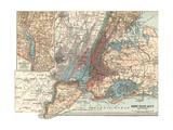Map of New York City (C. 1900), Maps Gicléedruk van  Encyclopaedia Britannica