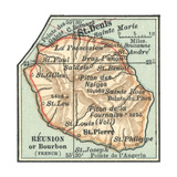 Inset Map of Reunion or Bourbon Island (French) Giclee Print