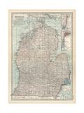 Map of Michigan, Southern Part Gicléedruk van  Encyclopaedia Britannica