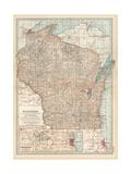 Map of Wisconsin. United States. Inset Map of Milwaukee and the Waukesha Lake Region Gicléedruk van  Encyclopaedia Britannica