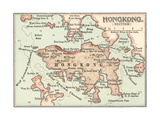 Map of Hong Kong (C. 1900), Maps Gicléedruk van  Encyclopaedia Britannica