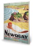 Newquay Surf Wood Sign Cartel de madera