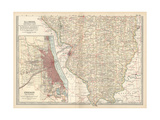 Map of Illinois, Southern Part. United States. Inset Map of Chicago and Vicinity Giclee Print