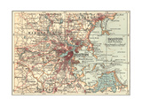 Map of Boston (C. 1900), Maps Giclee Print by  Encyclopaedia Britannica