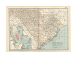 Map of South Carolina. United States. Inset Map of Charleston, Harbor and Vicinity Giclée-Druck