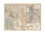 Map of Nevada and Utah. United States. Inset Map of Salt Lake City and Vicinity Giclee Print by  Encyclopaedia Britannica
