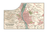 Map of Budapest (C. 1900), Maps Giclee Print
