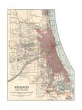 Map of Chicago (C. 1900), Maps Giclée-tryk af  Encyclopaedia Britannica