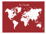 Our Travels Crimson Prints by Samantha Ranlet