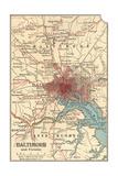 Map of Baltimore (C. 1900), Maps Gicléedruk van  Encyclopaedia Britannica
