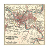 Map of Pittsburg, Now Spelled Pittsburgh (C. 1900) Lámina giclée por Encyclopaedia Britannica