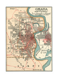 Map of Omaha and Vicinity Giclée-Druck von  Encyclopaedia Britannica