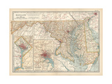 Map of Maryland and Delaware. United States. Inset Maps of District of Columbia Giclee Print