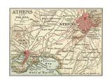Map of Athens (C. 1900), Maps Gicléedruk van  Encyclopaedia Britannica