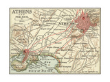 Map of Athens (C. 1900), Maps Giclee Print by  Encyclopaedia Britannica