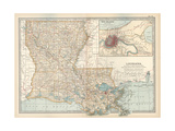 Map of Louisiana. United States. Inset Map of New Orleans and Vicinity Lámina giclée por Encyclopaedia Britannica