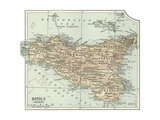 Plate 32. Inset Map of Sicily (Sicilia). Italy Giclee Print by  Encyclopaedia Britannica