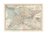 Map of Ontario, Canada. Insets of Toronto and Western Part of Ontario Giclee Print