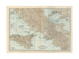 Map of Italy. Central and Southern Part. Insets of Sicily (Sicilia) and Naples (Napoli) Gicléedruk van  Encyclopaedia Britannica
