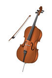 Cello and Bow, Stringed Instrument, Musical Instrument Posters van  Encyclopaedia Britannica