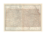 Plate 105. Map of Kansas. United States Giclee Print by  Encyclopaedia Britannica