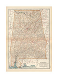 Plate 84. Map of Alabama. United States Giclée-Druck