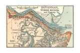 Map of Savannah (C. 1900), Maps Gicléedruk van  Encyclopaedia Britannica