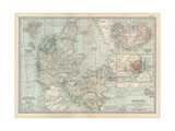 Plate 25. Map of Denmark. Insets of Iceland Giclee Print by  Encyclopaedia Britannica