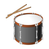 Tenor Drum and Drumsticks, Percussion, Musical Instrument Print