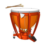 Timpani or Kettledrum and Drumsticks, Percussion, Musical Instrument Poster