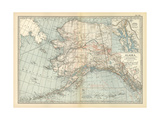 Map of Alaska. United States. Inset Maps of Sitka, and Aleutian Islands Impressão giclée por  Encyclopaedia Britannica