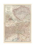 Map of Austria-Hungary, Western Part. Inset of Vienna (Wien) and Vicinity Giclee Print by  Encyclopaedia Britannica