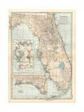 Plate 81. Map of Florida. United States. Inset Maps of Jacksonville Giclee Print