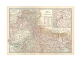 Map of India, Northern Part. Inset of Calcutta and Vicinity Giclee Print by  Encyclopaedia Britannica