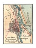 Inset Map of St. Augustine, Florida Giclee Print