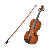 Violin and Bow, Stringed Instrument, Musical Instrument Posters