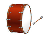 Bass Drum and Beater, Percussion, Musical Instrument Prints