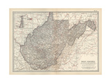Plate 77. Map of West Virginia. United States Giclee Print by  Encyclopaedia Britannica
