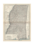 Plate 85. Map of Mississippi. United States Giclee Print
