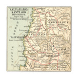 Inset Map of Valparaiso, Santiago and Vicinity. Chile Giclee Print