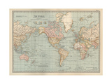Map of the World on Mercator's Projection, Showing the Chief Countries and their Colonies Giclee-trykk av  Encyclopaedia Britannica