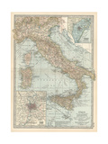 Map of Italy. Insets of Rome (Roma) and Vicinity, and Venice (Venezia) and Vicinity Giclee Print by  Encyclopaedia Britannica