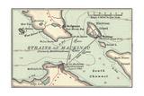 Inset Map of Mackinac Island and the Straits of Mackinac, Michigan Gicléedruk van  Encyclopaedia Britannica