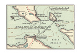 Inset Map of Mackinac Island and the Straits of Mackinac, Michigan Giclee Print by  Encyclopaedia Britannica