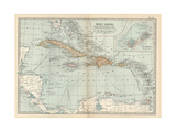 Plate 117. Map of the West Indies. Inset Map of the Berudas Giclee Print by  Encyclopaedia Britannica