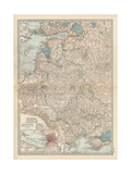 Map of Russia, Western and Southern Part. Inset of St. Petersburg and Environs Giclee Print