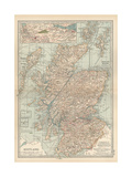 Map of Scotland. Insets of the Shetland Islands and the Territory Between Glasgow and Edinburgh Gicléedruk van  Encyclopaedia Britannica