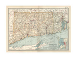 Plate 68. Map of Connecticut and Rhode Island Giclee Print