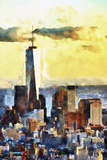 NYC Fiery Sunset Giclee Print by Philippe Hugonnard