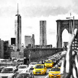 NY Taxis Bridge Giclee Print by Philippe Hugonnard